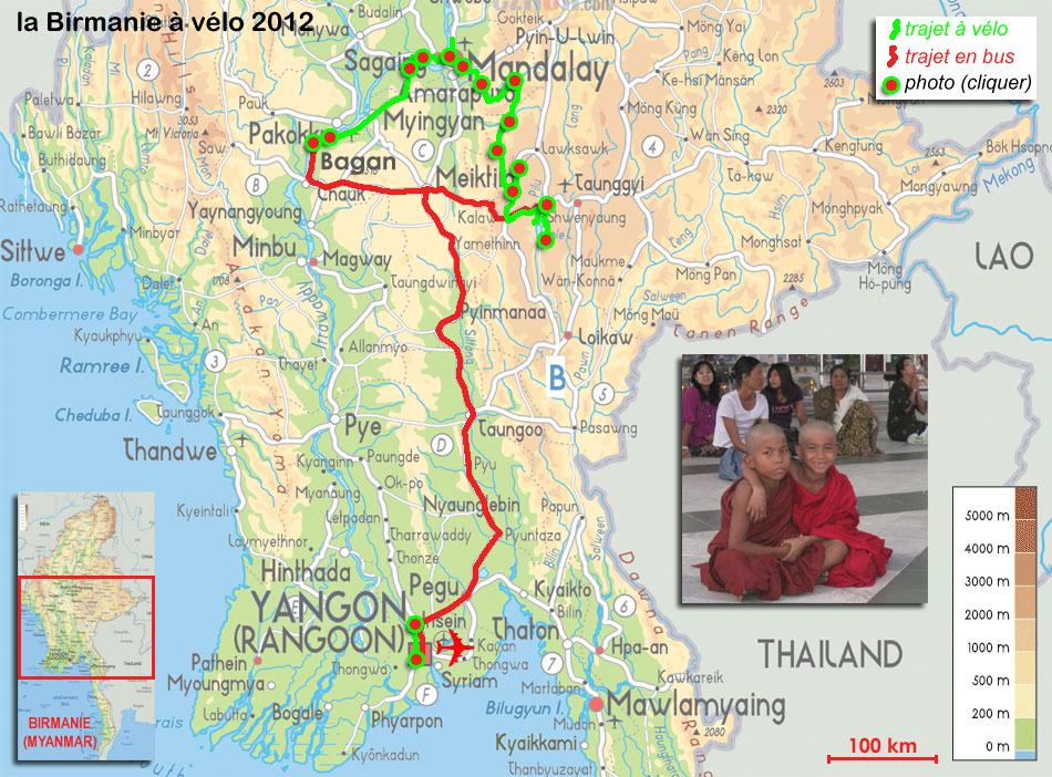 Carte Birmanie Plage.Carte De Notre Voyage La Birmanie A Velo En 2012